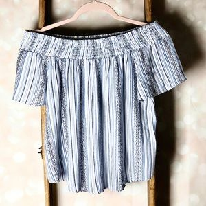 Socialite Blue White Stripe Off the Shoulder Top